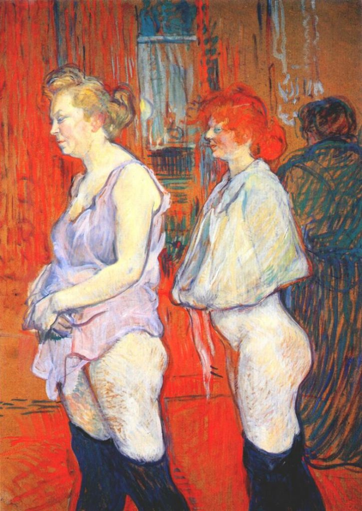 "Toulouse-Lautrec, ""L'inspection medicale"" (1894). Lautrec grew up at 24 Rue des Moulins in Paris, a whorehouse, at a time when 34,000 prostitutes were licensed in Paris."